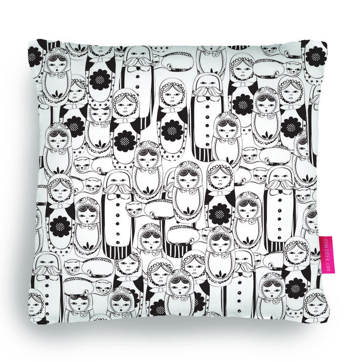 Quirky Illustrated Gifts   Doll Face   Ohh Deer  cushion, pillow, russian doll, home, decor, black and white, illustration