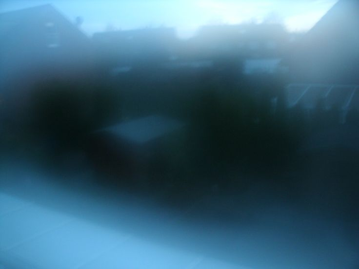 Ausblick Abenddämmerung, Blick auf Garten, Linse angehaucht