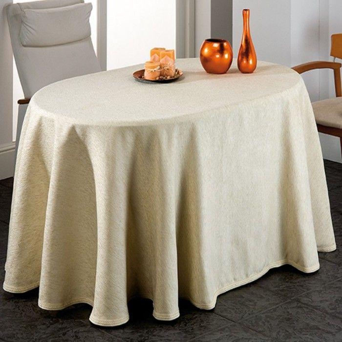Falda ovalada Soria chenilla de alta calidad para cubrir tu mesa camilla, destacada por su diseño elegante y muy bonito para decorar con estilo.
