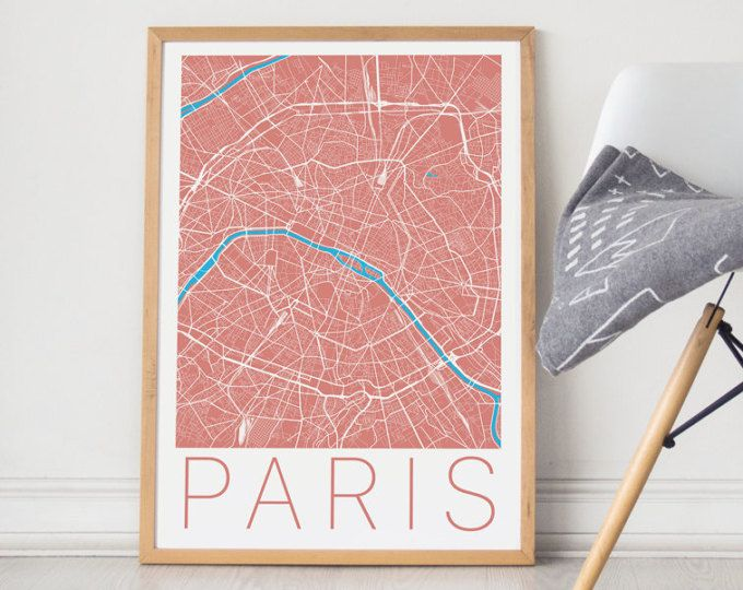 Paris Print / Paris Map / Paris Wall Art / Paris Poster / Paris Art / Travel Art / Travel Poster / France Art / France Poster / Wall Art