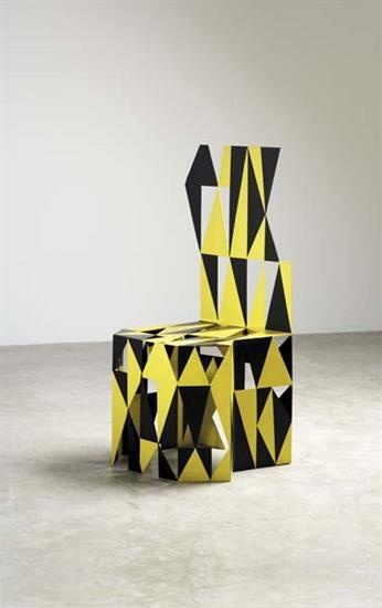 """ALESSANDRO GUERRIERO Unique """"Guerriero"""" chair, 1978  Painted metal.  43 3/8 in. (110.2 cm) high Produced for Studio Alchimia, Italy."""