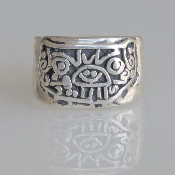 Aztec ring - Jaguar ring- Sterling Silver .925 - pirate ring - explorer's ring