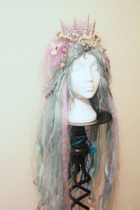 SALE Mermaid Wig Shell Crown in Blue and Lilac by GhouliaPeculiar