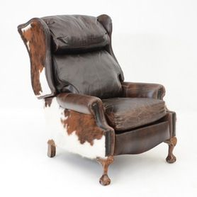 Southwestern Leather and Cowhide Reclining Chair