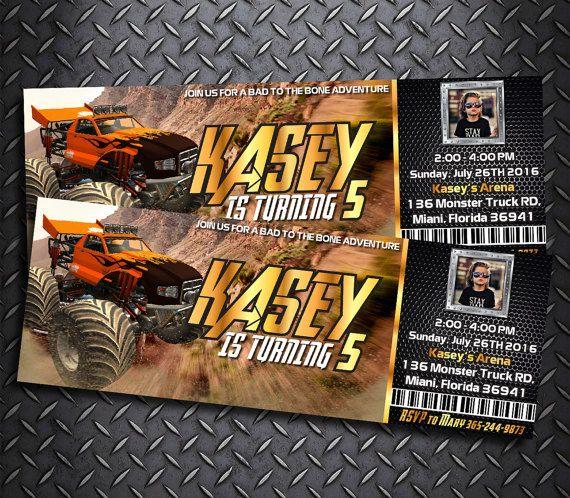 Monster Truck Ticket Invitation Monster Truck Ticket