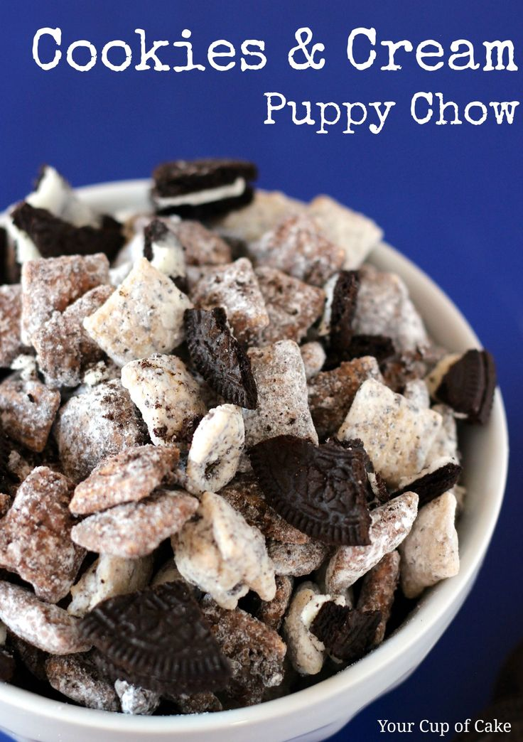 Cookies & Cream Puppy Chow - Pretty good. I didn't get the white chocolate pieces as coated as I would have liked. I guess I need to add more or melt it more. I used the microwave to melt the chips. Also, I used both rice and corn chex for variety. This is really good, but I miss the hint of peanut butter in original puppy chow.
