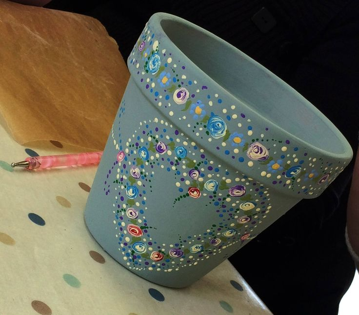 Painted plant pot with dot roses - a product of Joanne's workshop at My Wings N Things