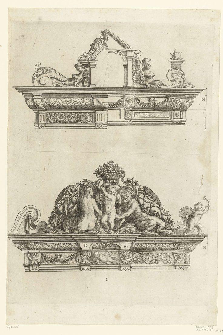 Crispijn van de Passe (II) | Twee kroonelementen voor portieken, Crispijn van de Passe (II), Anonymous, Anonymous, 1642 | Elk element met varianten.