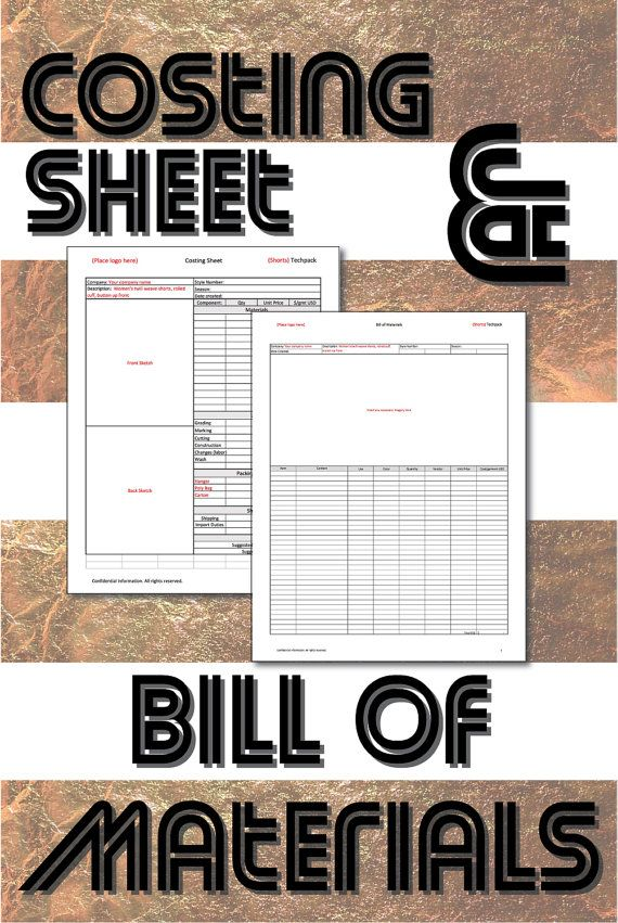Costing sheet and BOM printable tech pack excel templates for fashion design, clothing manufacturing and production. Great for small designer start-up businesses!