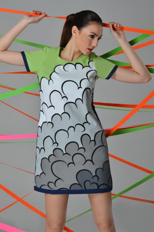 Cloud Dress, by Plains & PrintsNeon Bright, Fashion, Graphics Prints, Cloudy Dresses, Clouds Dresses, Perfect Toast, Plain, Prints Veer, Bold Colors
