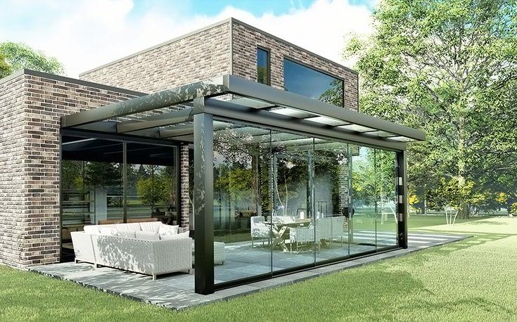 Luxe veranda ultraline glas   DE WOONZAKEN in 2020   Veranda ontwerp, Patio luifel, Pergola patio