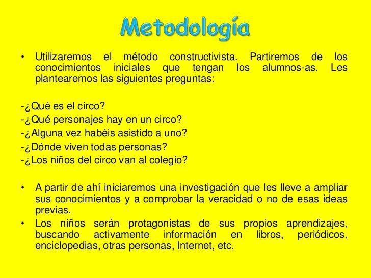 Metodología<br />Utilizaremos el método constructivista. Partiremos de los conocimientos iniciales que tengan los alumnos-...