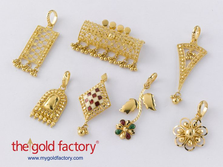Assorted Pendants   A medley of cute pendants that covers almost all types of workmanship, some with enamel and some in plain gold. Pair them with anything, wear them to work or just make them make you stand out in the crowd at the para pandal. All in hallmarked 22K gold.