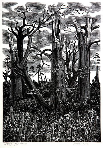 Monica Poole, Spring, 1988, wood engraving