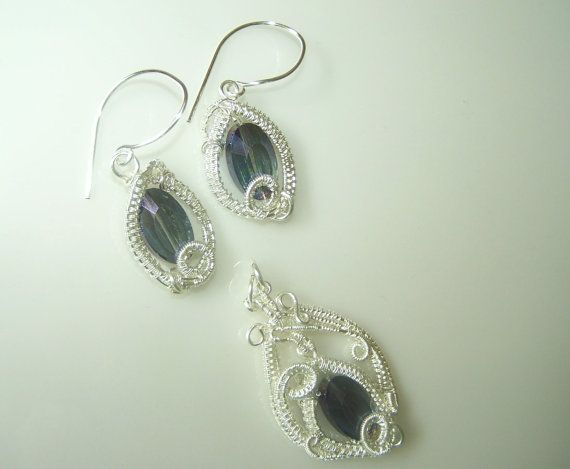 Very Intricate Wire Wrapped Pendant And Earrings by choice4all