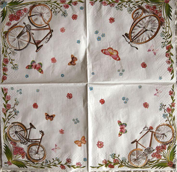 Купить Салфетка Велосипед и Лето - комбинированный, белый, разноцветный, салфетка для декупажа, салфетки декупажные