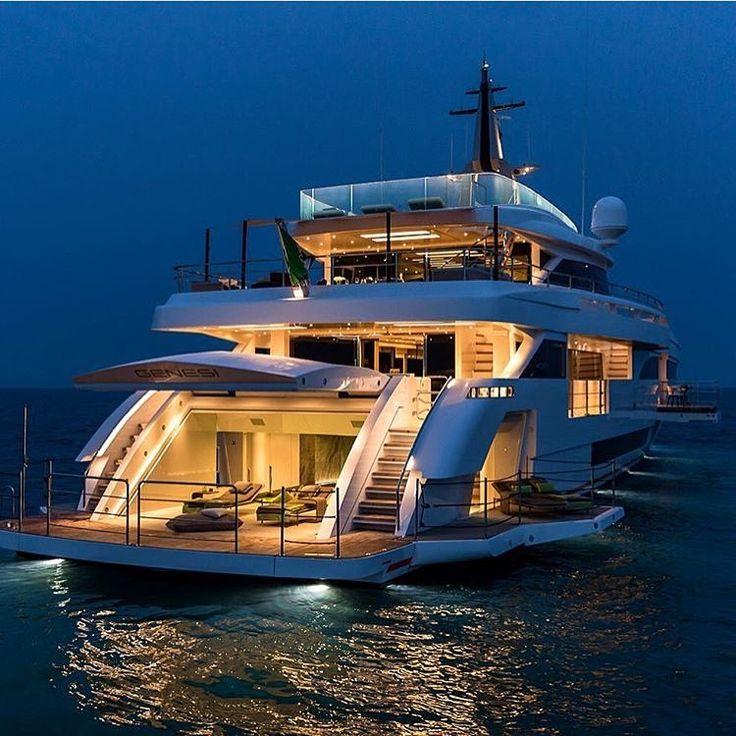 "OnlyForLuxury on Instagram: ""Beautiful Yacht at night ✨ | Photo by Jeff Brow…"