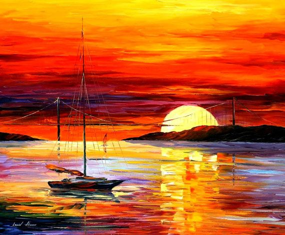 Golden Gate Bridge By The Sunset — PALETTE KNIFE Oil Painting by AfremovArtStudio, $319.00