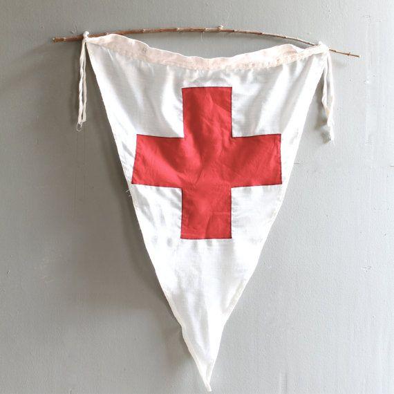 Vintage Red Cross Flag by lovintagefinds on Etsy.