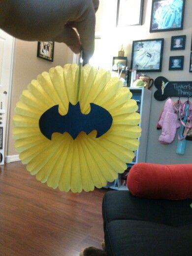 DIY batman decoration for a batman baby shower