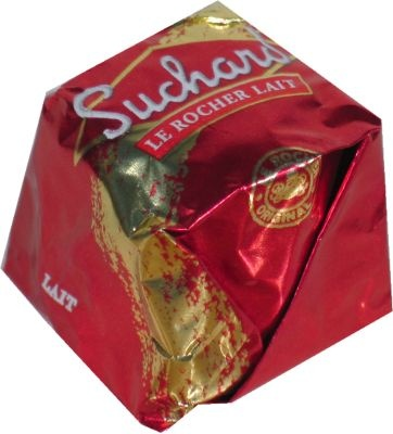 Rocher from Suchard. Its hazelnut flavor is irresistible. Available at Frenchly Yours. J'adore!