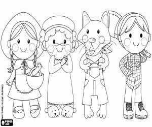 desenho de Os quatro personagens do conto são Chapeuzinho vermelho, a avó, o lobo e o lenhador