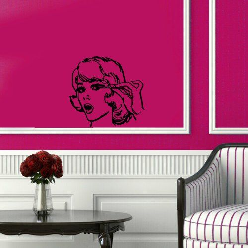 wall vinyl sticker decal art design lady doing her eyelashes retro beauty saloon room nice picture