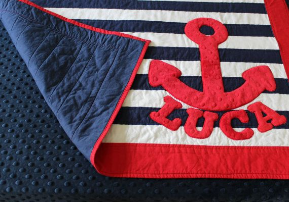Baby Nash S Vintage Nautical Nursery: Nautical Nursery Bedding, Striped Crib Quilt, Anchor Baby