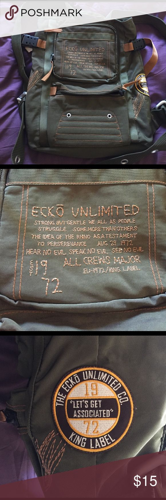 Google themes ecko - Ecko Unlimited Olive Green Backpack Backpack Straight Stop Zipper Multiple Compartments And