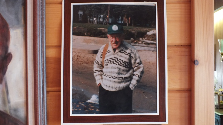 A.J. Casson on the beach at Blue Spruce Resort on Oxtongue Lake.