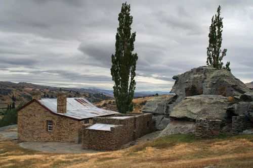Mitchell's Cottage, Fruitlands, Otago, New Zealand - This stone building was erected between 1880 and 1904 by Andrew Mitchell, a gold miner and stonemason. Mitchell learnt his stonemasonry skills in his Shetland Island homeland.