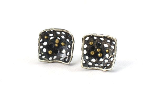 Sterling Silver and 18K Gold Square Earrings Sterling