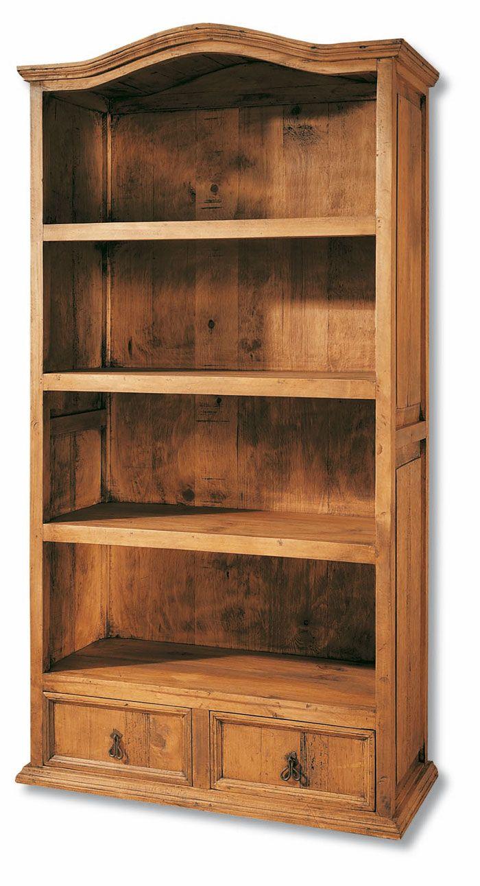 Estanteria con cajones rustica en madera maciza, mueble para libros ...