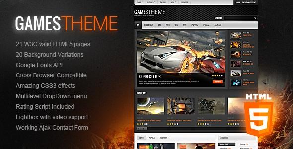 GamesTheme Premium HTML5/CSS3 Template