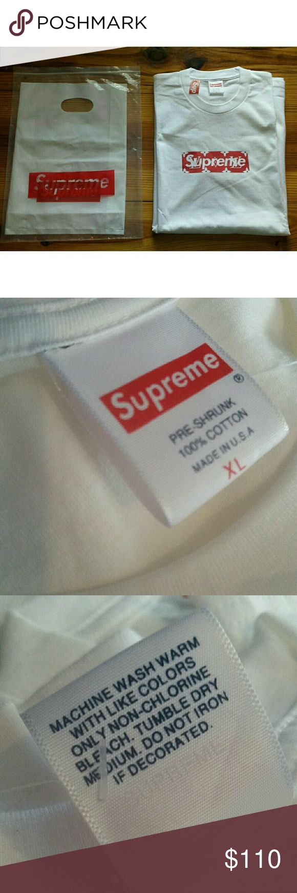 Supreme Louis Vuitton LV Box Logo XL Extra Large Supreme x Louis Vuitton Box Logo Shirt Color: White, Red Size: XL Extra Large Brand new with orginal dustbags  Fits true to size  Buy one shirt and get the 2nd one 10% off  Gucci Prada fendi yeezy boost nike jordan bape palace Polo Tommy hilfiger ralph lauren nautica adidas fear of god chanel Louis Vuitton Shirts Tees - Short Sleeve