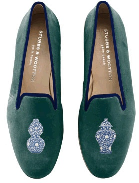 Ming vase flats...added bonus, each foot has a different vase! I chose green slipper with navy trim + ming vase embroidery design. Stubbs & Wootton.