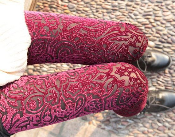 This are amazing!!!  I need them!!! Red Velvet Silver Dots Transparent Sheer Flower Floral Cut Slim Fit Leggings Tights Autumn Winter Vintage Pants