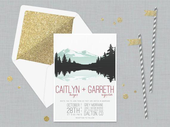The 'Gemma' Wedding Invitation; Vintage Invitation, Rustic Wedding, Mountain Wedding, Lake Wedding, Destination, Travel, Outdoor [Sample]