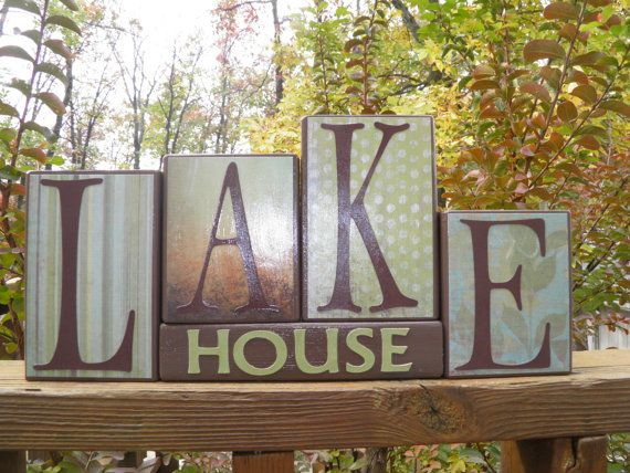lake house wooden block home decor lake by bedazzledbymichelle