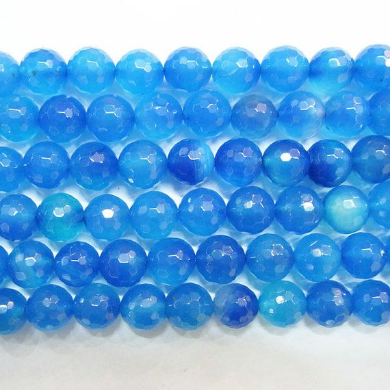 stones-----------------------Round Hand Cut Agate Light Blue Gemstone 15 by TheTasteJewelry, $4.77