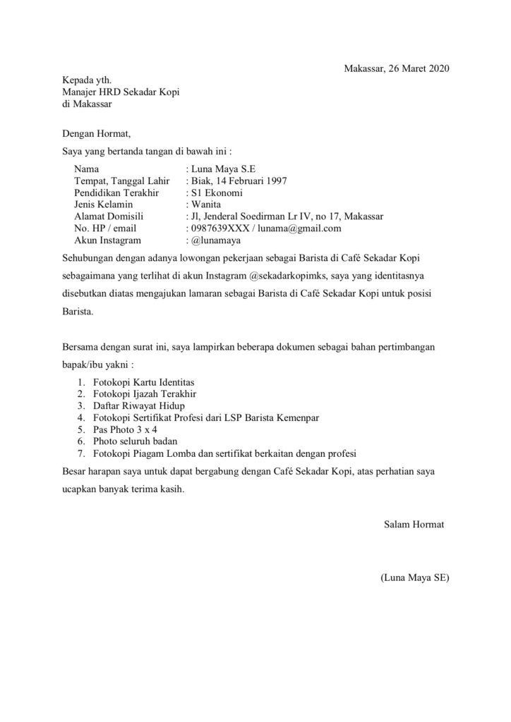 Contoh Surat Lamaran Kerja Sebagai Barista Barista Surat Tanggal