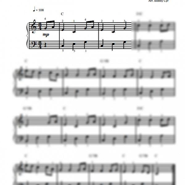 Free Easy Piano Sheet Music Score Scarborough Fair: Easy Piano Sheet Music For