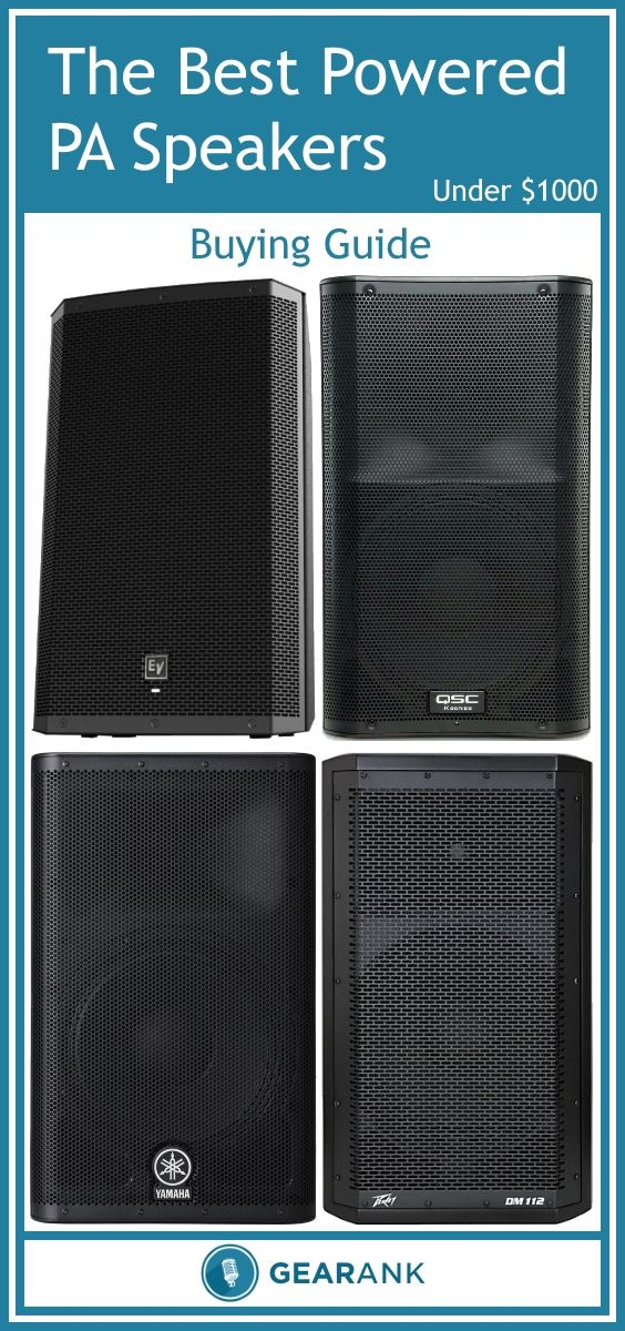 Guide to The Best Powered PA Speakers - Under $1000.  In addition to a recommended list of the highest rated speakers, this guide also provides advice on Output Power Ratings, Max SPL, Speaker Cone Size, DSP, Limiter and EQ, Portability and much more.