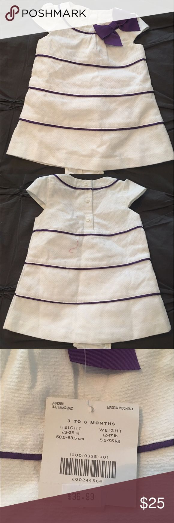 🆕 Janie and Jack Purple and cream dress 👗 Cute spring dress. 100% Cotton.  Fully lined. Includes diaper cover. Machine wash. Smoke free, pet free home. Janie and Jack Dresses