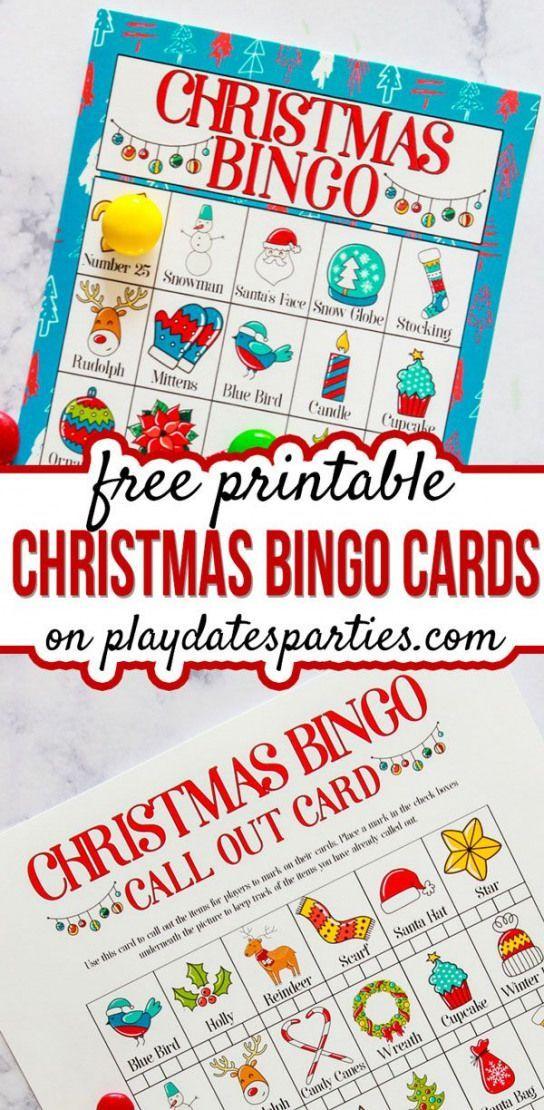Dieses Set mit farbenfrohen, kostenlos bedruckbaren Bingo-Weihnachtskarten ist eine unterhaltsame Art und Weise für Kinder … – family activities kindergarten