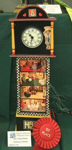 Clock house with dollhouse scenes in 1:48 scale based on the artwork and designs of Mary Engelbreit