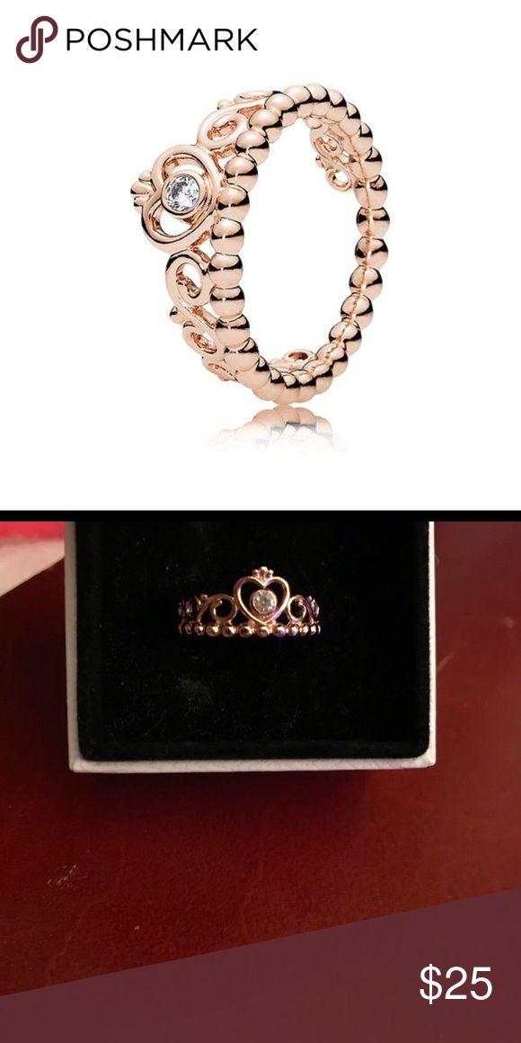 Pandora Gold Princess ring Great condition Pandora Jewelry Rings