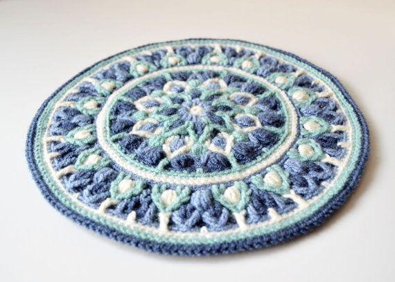 Crochet Mandala Potholder PATTERN overlay por LillaBjornCrochet