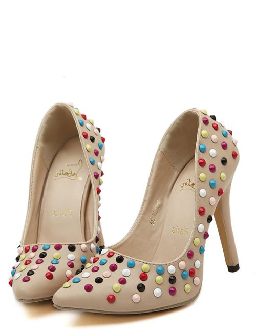 Wholesale Colorful Italian classic shallow mouth stud sexy high-heeled pointed shoes YS-C4682 - Lovely Fashion