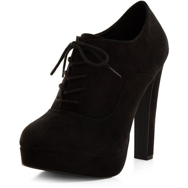 New Look Black Suedette Lace Up Shoe Boots (£23) ❤ liked on Polyvore featuring shoes, boots, black, high heel shoes, front lace up boots, new look boots, lace up shoes and laced boots